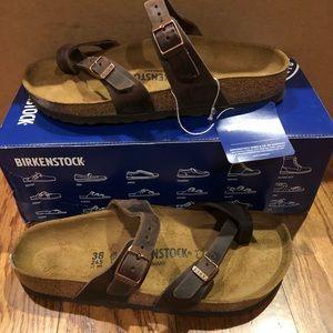 Birkenstock Mayari brown leather 7 medium new